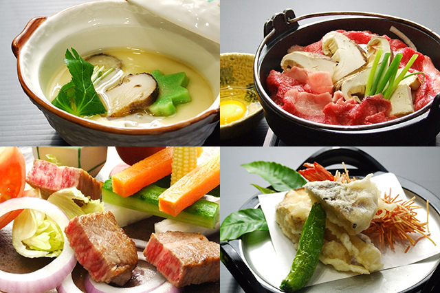 松茸入り茶碗蒸し、松茸入りすき焼き、小角ステーキサラダ、松茸天麩羅
